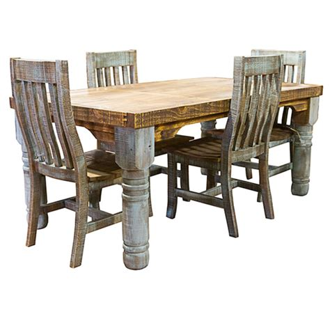 lmt turquoise washed rustic dining room set dallas