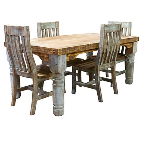 Dallas Designer Furniture   Turquoise Washed Rustic Dining