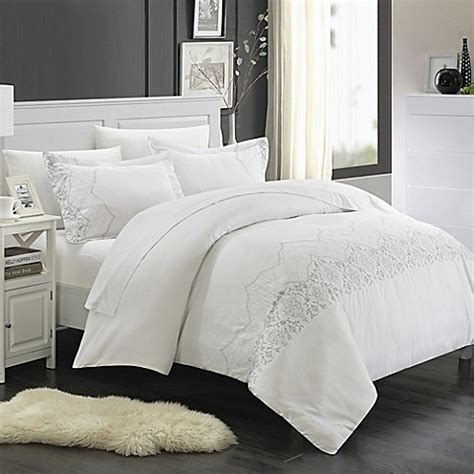 white duvet covers chic home saunder 7 duvet cover set in white bed