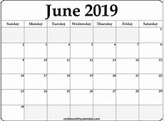 Download June 2019 Printable Calendar Printable Blank