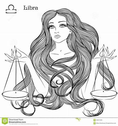 Libra Zodiac Sign Vector Coloring Hair Astrological