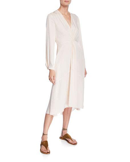 v drape vince v neck sleeve twisted drape dress