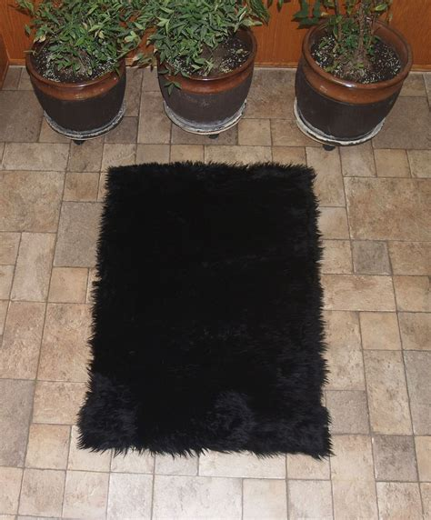 black fur rug faux fur area rug black large other rugs carpets