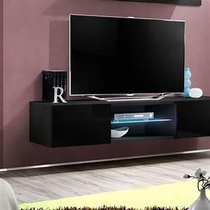 Meuble Tv 160 Cm : meuble tv mural design fly iii 160cm noir ~ Teatrodelosmanantiales.com Idées de Décoration