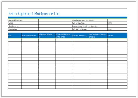 farm equipment maintenance sheet  ms excel excel