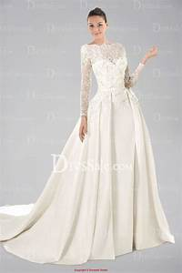 noble long lace sleeve satin wedding gown with appliques With silk wedding dresses with sleeves