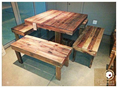 pallets seater table  chair set   home pallets