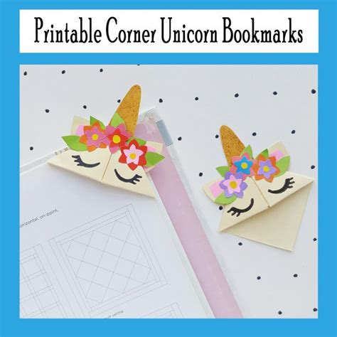 printable corner unicorn bookmark origami bookmark
