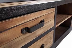 Meuble Bois Et Noir : meuble tv bas industriel vintage tv02 rose moore ~ Teatrodelosmanantiales.com Idées de Décoration