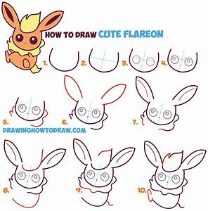 How to Draw Flareon in Cute / Kawaii / Chibi / Baby Style ...