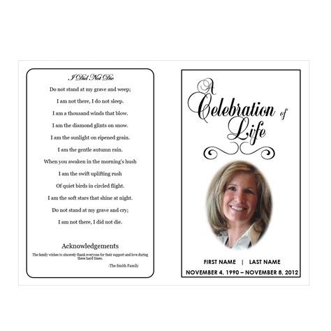 free celebration of program template celebration of funeral phlets