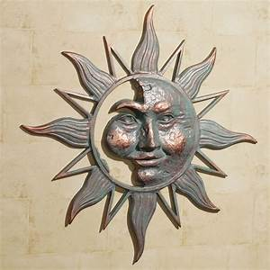 half face sun indoor outdoor metal wall art With outside wall art