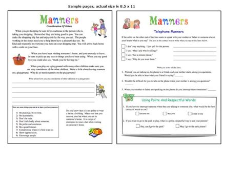 manners and table manners worksheet for kindergarten 2nd grade lesson planet