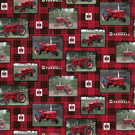 foto de IH Farmall Tractor Patch Cotton Fabric Sold by the Yard