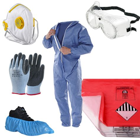 asbestos removal pack kit blue coverall disposal bags