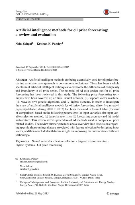 (PDF) Artificial intelligence methods for oil price