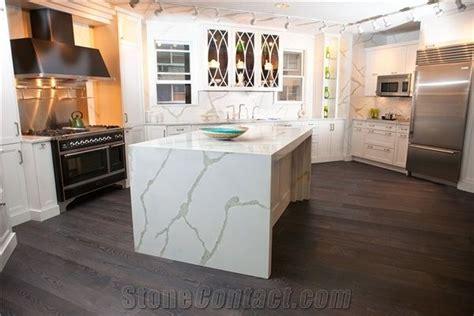 kitchen island manufacturers manufacturer bianco calacatta marble look white quartz 1947