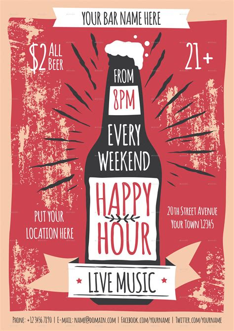 happy hour flyer template  meenjah graphicriver