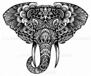 Tribal Elephant Head Tattoo Design in Black Ink https ...