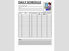Daily Work Schedule Template schedule template free