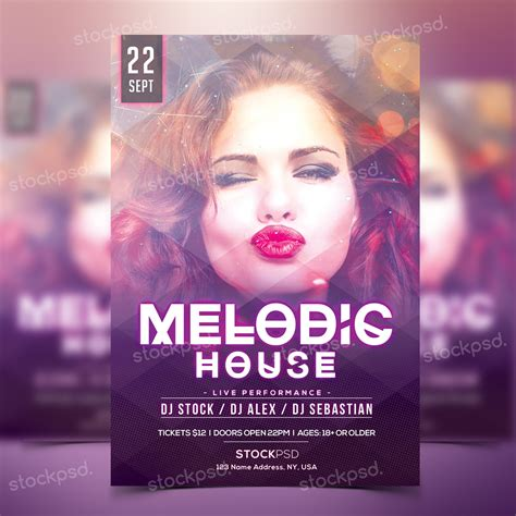 ad template psd melodic houseparty photoshop flyer template flyershitter