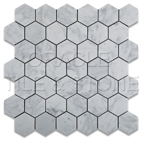 carrara white marble honed 2 quot hexagon mosaic tile mesh ebay