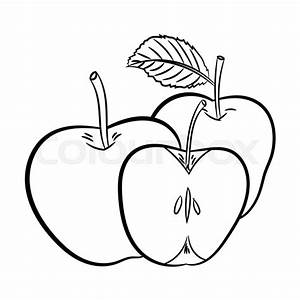 Hand Drawn Sketch Of Apples Isolated  Black And White
