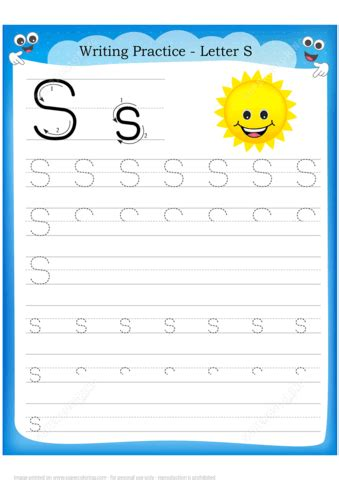 letter    sun handwriting practice worksheet