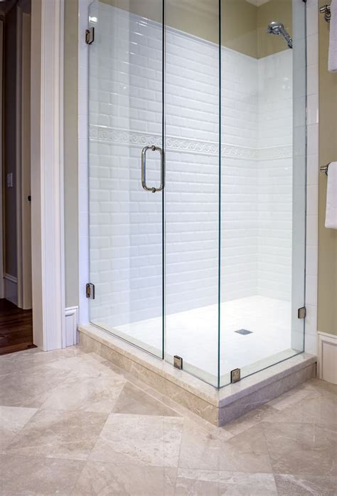 clean crisp lines for this walk in guest bathroom shower