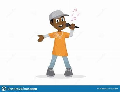 Cartoon Rapper Character Microphone Boy Sings African