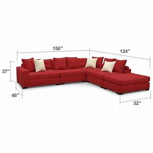 venti 5 piece sectional with cocktail ottoman red With red sectional sofa american signature