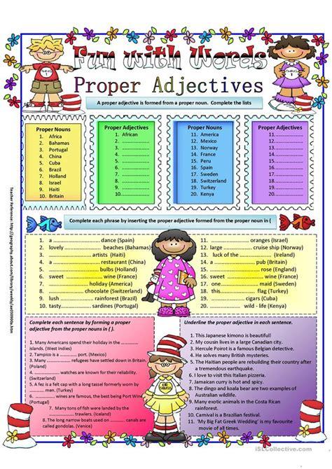 proper adjectives worksheet  esl printable
