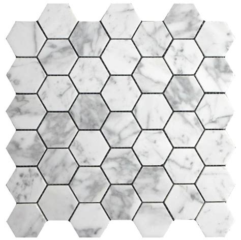10 87sf carrara bianco honed 2 quot hexagon mosaic tile