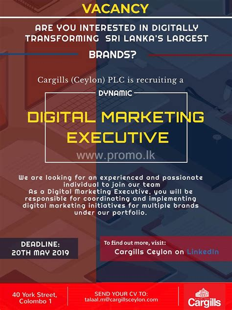 digital marketing executive  cargills ceylon plc