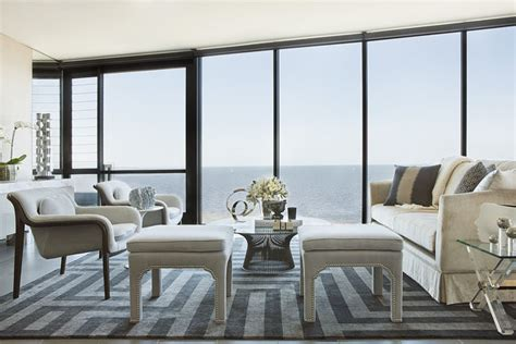 Sparkling Apartment Design by Gray Pattrened Rug