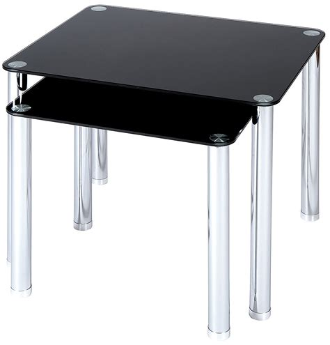 black glass end table set of 2 black glass with chrome legs side tables