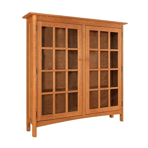 wood bookcase with glass doors solid wood shaker style bookcase with glass doors high