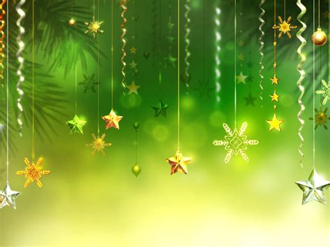 christmas green background stars snowflakes decorative