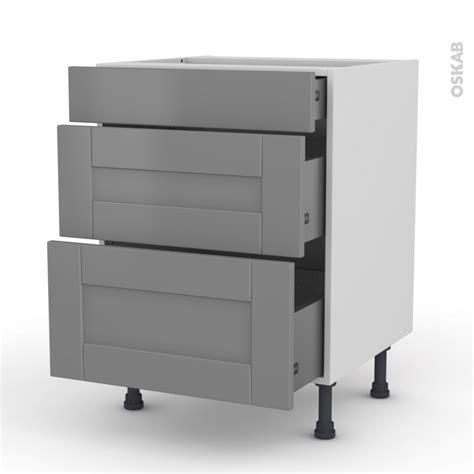meuble cuisine gris meuble de cuisine casserolier filipen gris 3 tiroirs l60 x