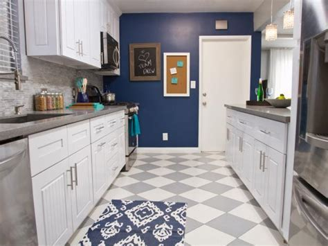 Gray and White Checkered Floor in Navy Kitchen   HGTV