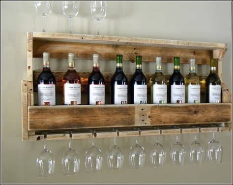 Kitchen Wine Rack Ideas - surprise wine rack from pallet wall mounted homemade with glass shelf and holder made www
