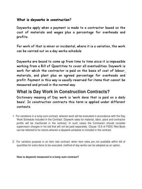 daywork  construction damages employment
