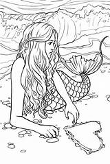 Mermaid Coloring Adults Pages sketch template