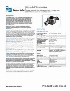 Badger Meter Model M170 Spec Sheet