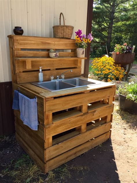pallet sink outdoors pinterest sinks  pallets