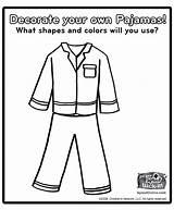 Pajama Coloring Pajamas Activities Pyjamas Llama Crafts Writing Polar Express Kindergarten sketch template