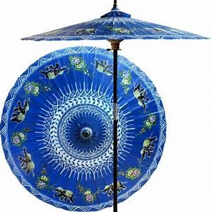 Wood Market Umbrella    Asian Elephants  China Sea Blue