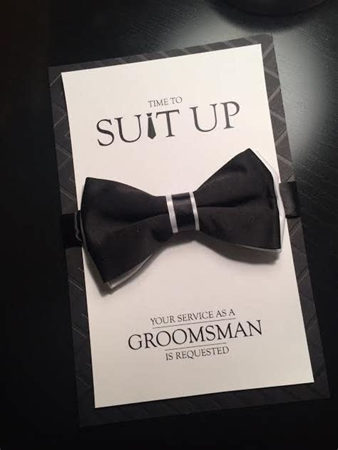 groomsman card time  suit  bow tie card