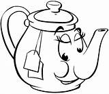 Teapot Coloring Pages Tea Pot Face Printable Smiling Cup Teacup Drawing Clipart Template Meals Drinks Vinyl Activity Kettle Cartoon Clip sketch template