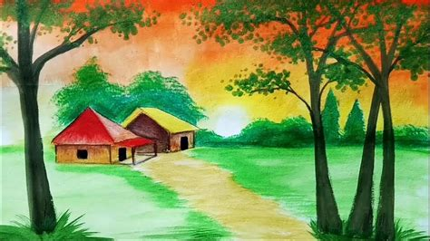 How Draw Sunset Scenery Landscape With Watercolor
